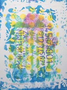 A Colorful Gelli Print Party at aColorfulJourney.com with Carolyn Dube
