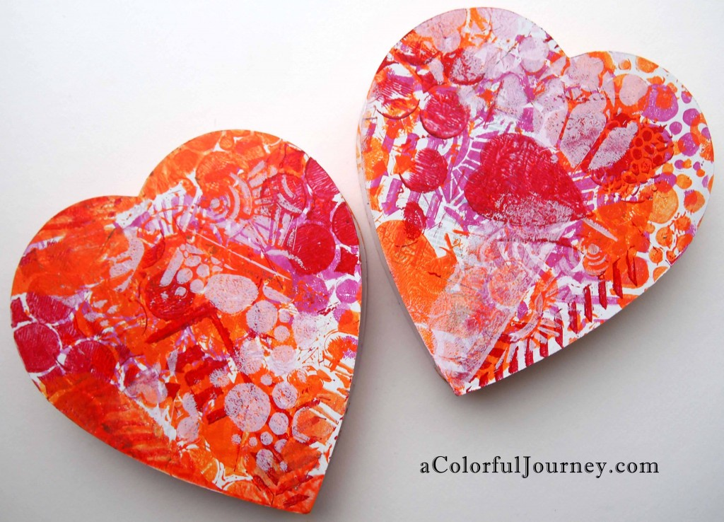 Valentine's Day box Gelli Plate style with Carolyn Dube