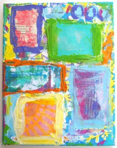 A Colorful Gelli Print Party with Carolyn Dube collaged canvas work in progress