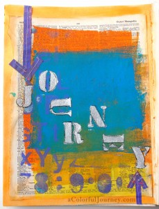 Art Journal page using a Gelli print, PanPastels, and a stencil from the free workshop Use Your Words