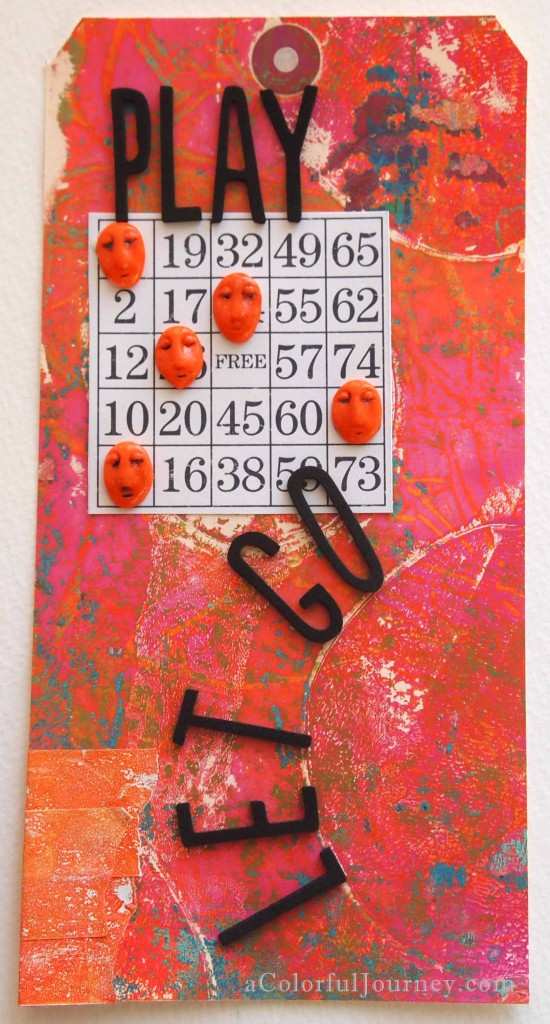 A Gelli print tag by Carolyn Dube
