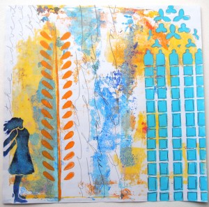 A gelli print starts and guides an art journal page by Carolyn Dube