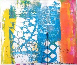 Step-by-step Gelli print journal page with Carolyn Dube