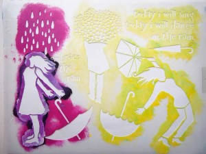 Art Journal Page for the Rain Stencil Test Drive with Carolyn Dube