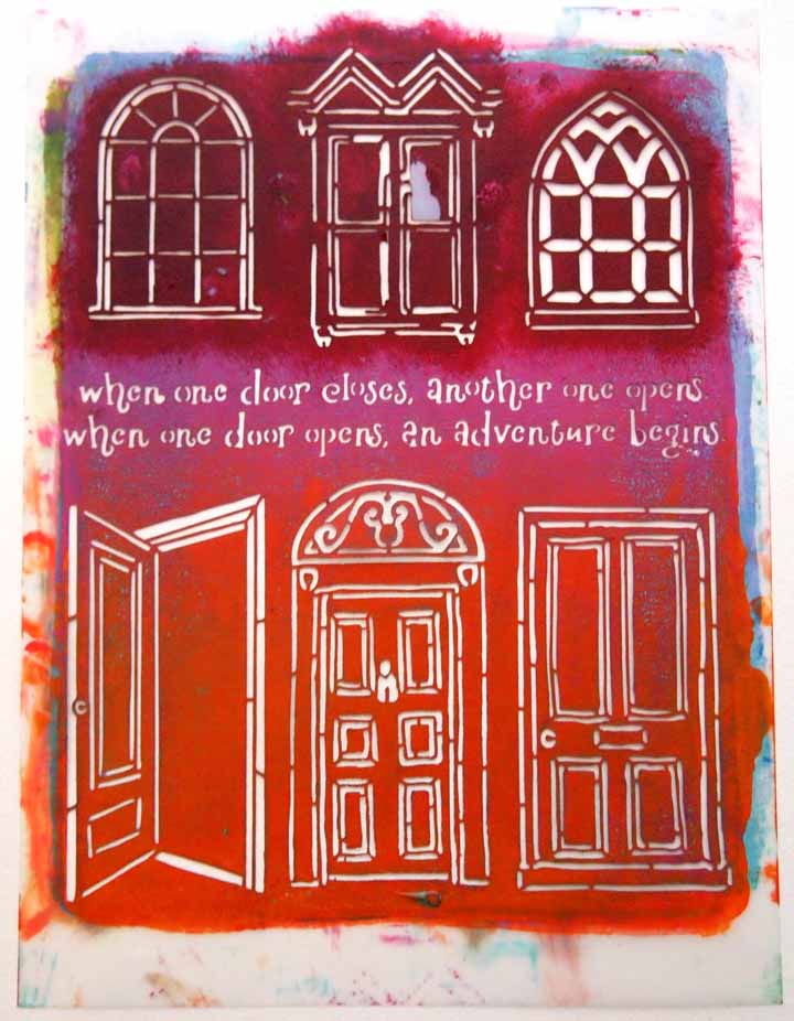 Art journal page using Jessica Sporn's Windows and Doors stencil by Carolyn Dube