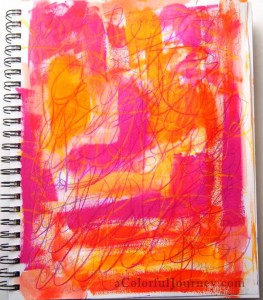 Step by step art journal page by Carolyn Dube using Julie Balzer's Cityscape stencil