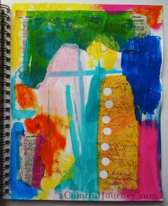 Step by step art journal page with Carolyn Dube