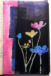 Step by step art journal page by Carolyn Dube using Pan Pastels and Twinkling H2O's