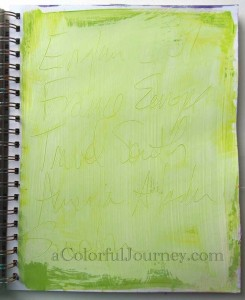 Step-by-step art journal page using Lesley Riley'sTAP by Carolyn Dube