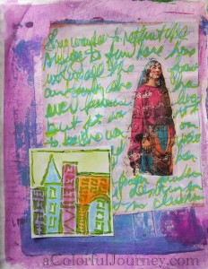 Step by step art journal page by Carolyn Dube using Lesley Riley's TAP, PanPastels, Liquitex Markers, a Gelli Print, and Jamie Fingal's StencilGirl Products stencil