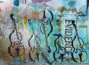 Step-by-step art journal page using Nathalie Kalbach's Bass stencil with Carolyn Dube
