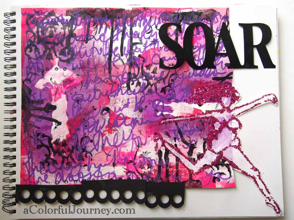 Video tutorial on using glitter with a stencil in an art journal page by Carolyn Dube
