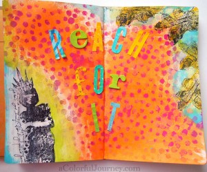 Step by step art journal page using Nathalie Kalbach's What The Point Stencil from StencilGirl Products by Carolyn Dube