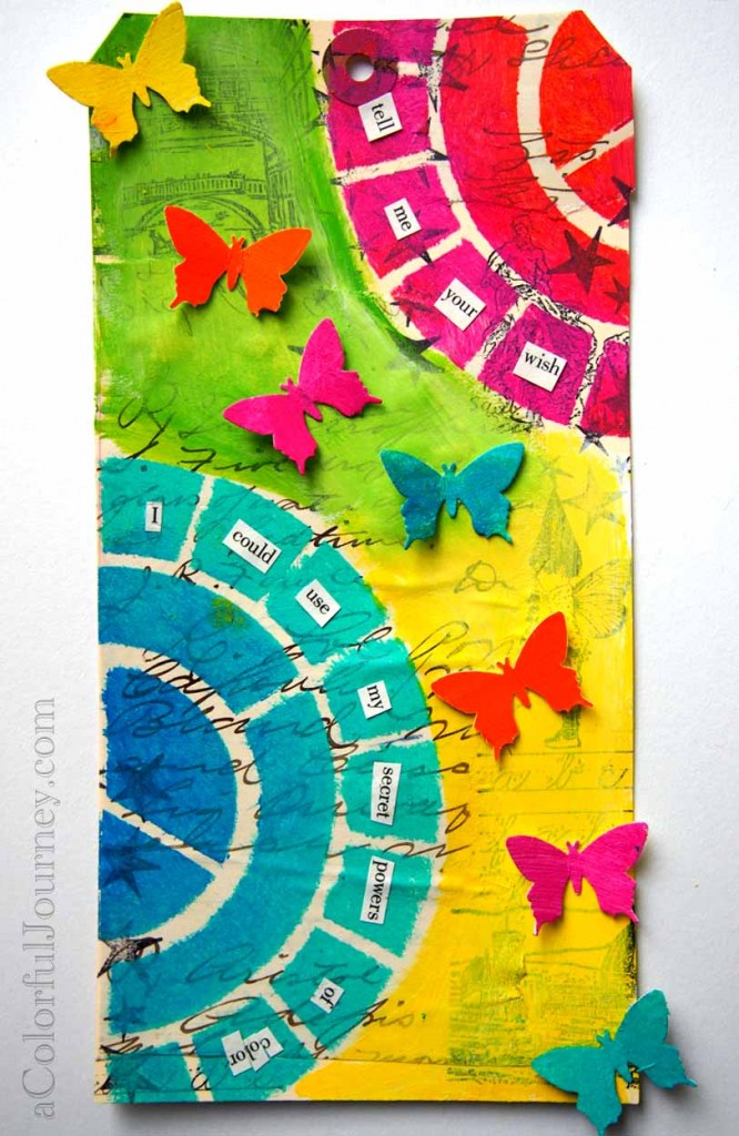 Step by step tag using Pam Carriker's color wheel stencil, rubber stamps, and a butterfly punch by Carolyn Dube