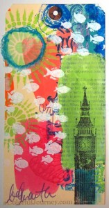 Step-by-step tutorial of mixed media tag experimentation and play by Carolyn Dube
