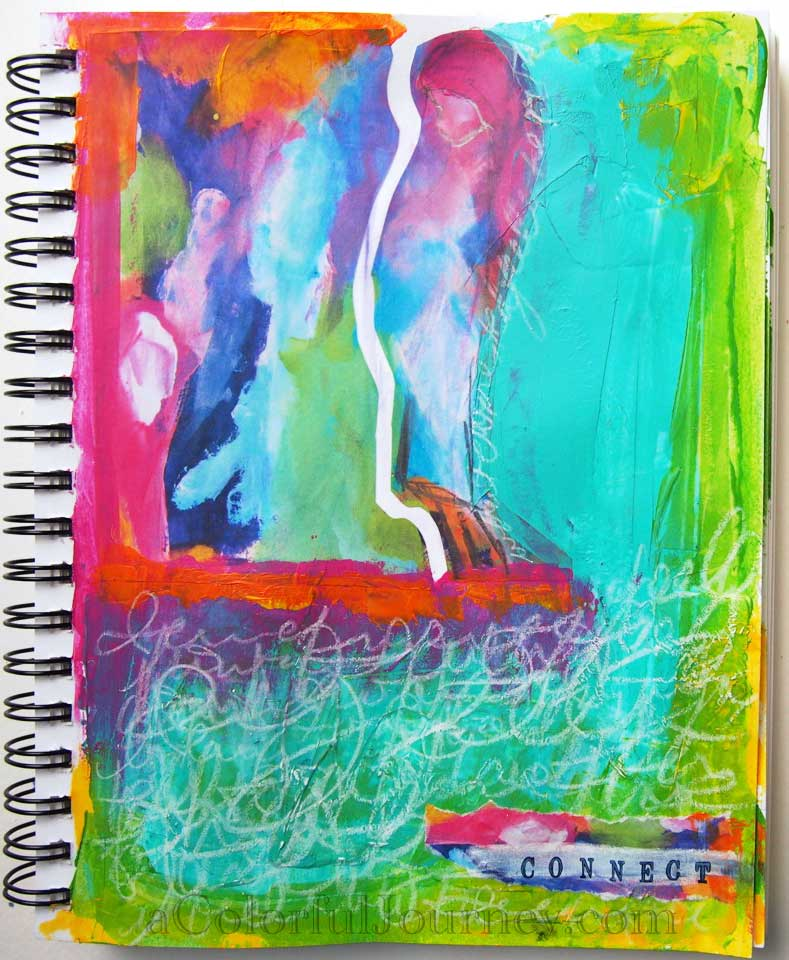 Step-by-step art journal page showing how I connect with my feelings by Carolyn Dube
