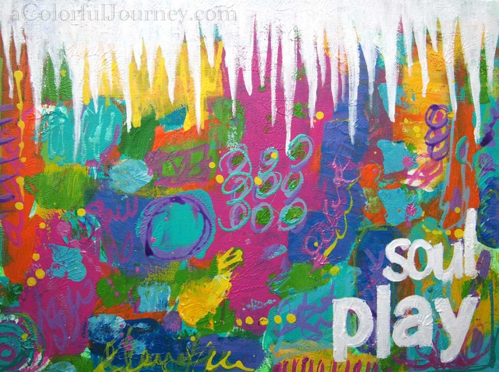 Video tutorial of mixed media and stencil play inspired by icicles by Carolyn Dube