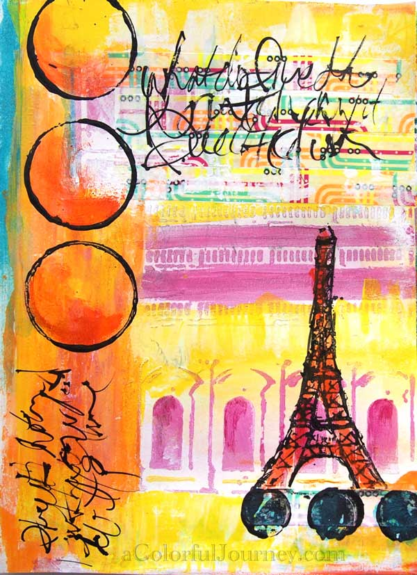 Step-by-step stencil play with paints  in an art journal by Carolyn Dube