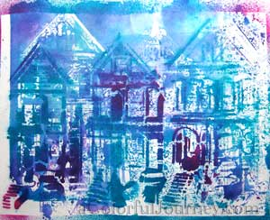Video tutorial letting go of control with a the trio of houses stencil and spray inks by Carolyn Dube