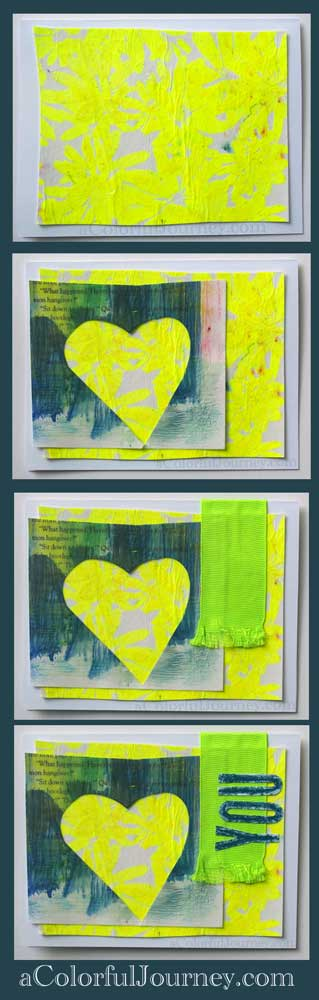 I used leftovers, including my encaustic paper, to make 2 mixed media cards