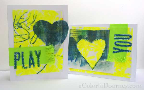 I used leftovers, including my encaustic paper, to make a few cards