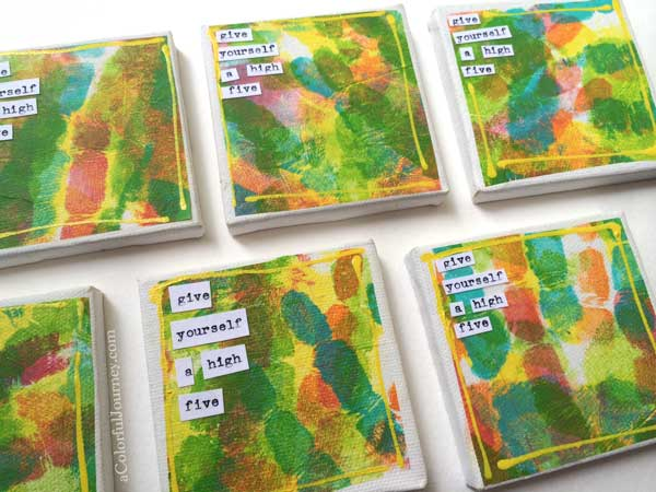 Video showing how I made this little canvases with Gelli printed deli paper