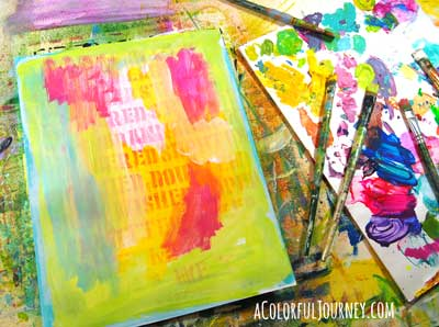 Step by step art journaling a stenciled face with a big Oops with a BIG message