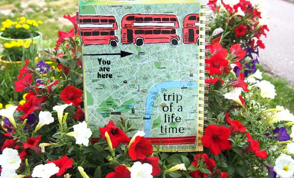 Using travel stencils tutorial in an art journal with Carolyn Dube