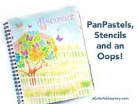 Great video showing how to seal PanPastels and how to use them with stencils in an art journal!