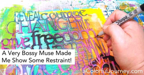 Carolyn's muse is showing her who is boss by making her show some restraint as she uses Craft Attitude and stencils on a Gelli print®!