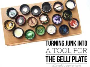 Old paint lids become an upcycled tool for making patterns for Gelli printing®! Lots of info in the video!