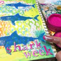 Couldn't get sharks off the brain so they ended up in my art journal!  Captured it all on video too! Inspired by Discovery Channel's Shark Week