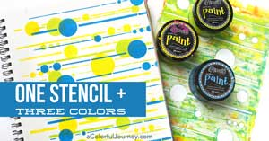 A fun video showing how to stencil using  Dylusions paints and a mod looking circle stencil from StencilGirl and Carolyn Dube