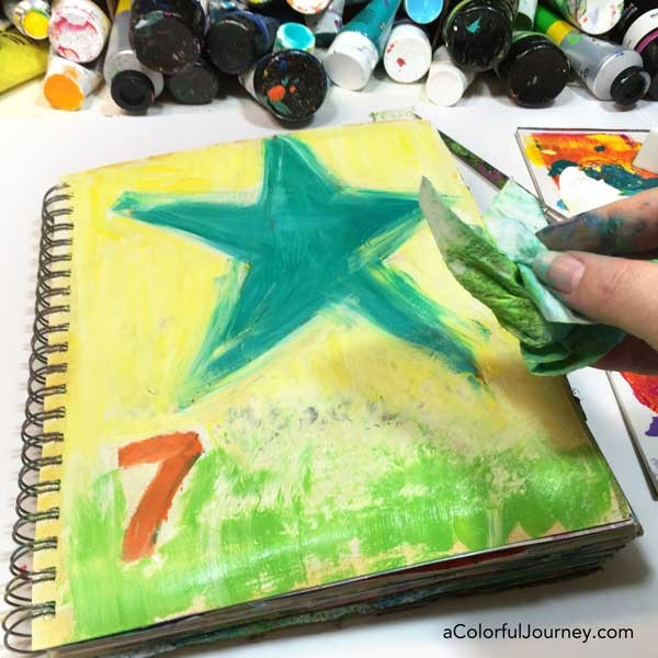The most horrible looking start to an art journal page didn't matter at all thanks to being able to add layers!
