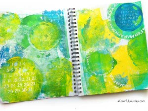 Video full of tips and tricks for Gelli printing® as she uses the round plates in an art journal with a round stencil!