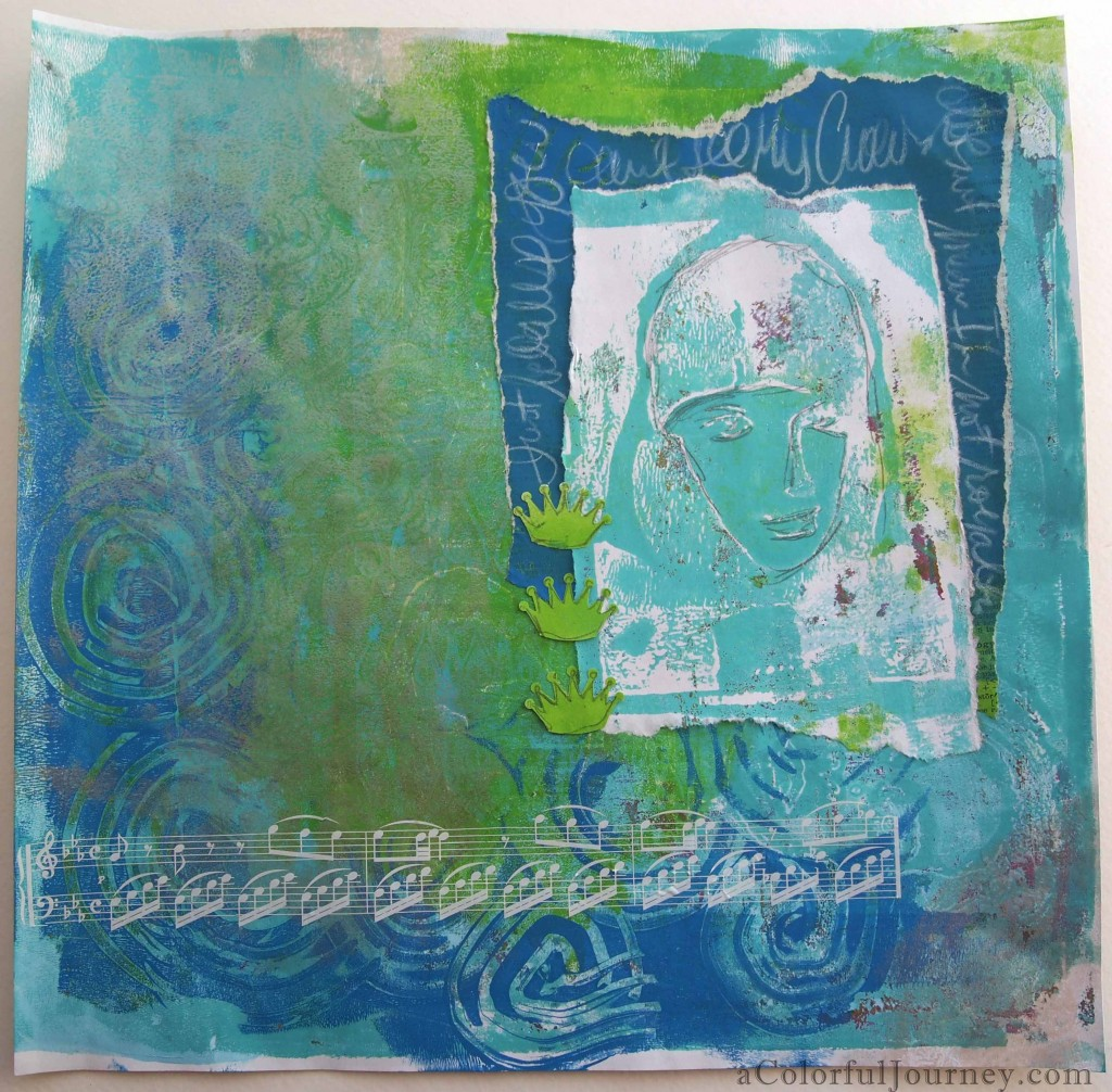 Art journal page using a Gelli Plate print, Catalyst tool, and Backporch Artessa stamps