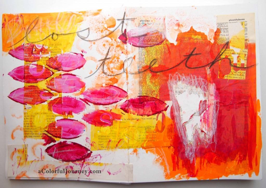 An art journal spread celebrating losing teeth by Carolyn Dube