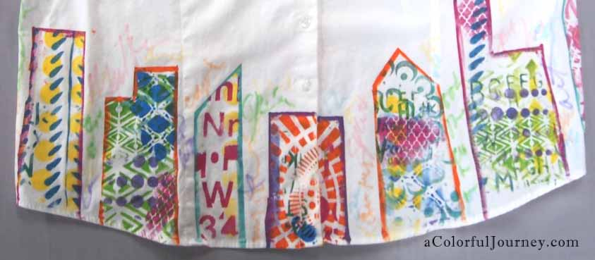Gelli printing on a shirt for the April Colorful Gelli Print Party with Carolyn Dube