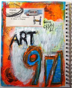 Step-by-step art journal page that captured how badly Carolyn Dube needed her art time!
