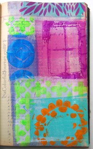 Video tutorial of art journal page using StencilGirl stencils by Carolyn Dube