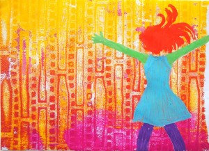 Video tutorial by Carolyn Dube using a Gelli Plate with the Jump for Joy Stencil from Stencil Girl Products