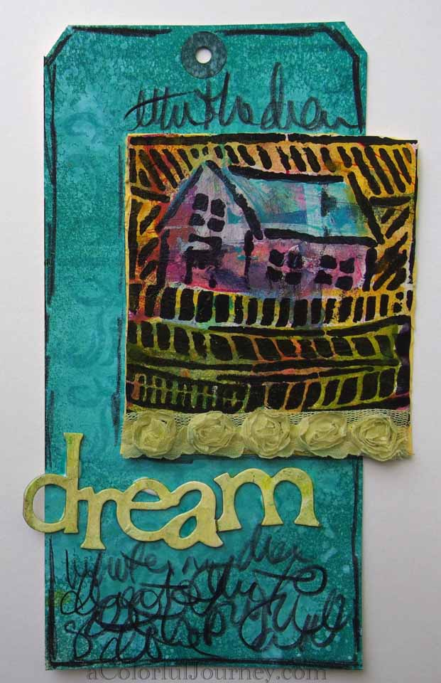 Video tutorial using a stencil, stamp, spray inks and Silks by Carolyn Dube