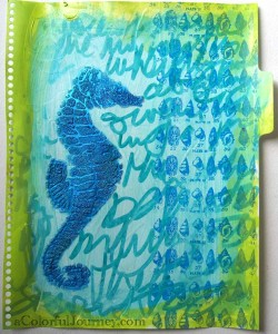 Step by step tutorial with a stencil and bead gel in an art journal by Carolyn Dube using StencilGirl Products stencil