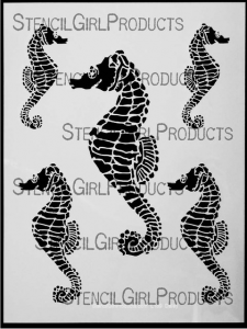 Seahorses stencil at StencilGirl Products by June Pfaff Daley