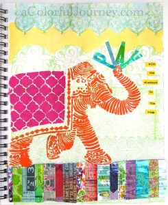 Video by Carolyn Dube showing this art journal page from beginning to end using StencilGirl Products Elephant stencil by Nathalie Kalbach
