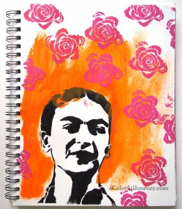 Video showing how to make colorful flowers with tape in an art journal page.  The stencils on this page were designed by Pam Carriker for StencilGirl Prouducts Stencil Club.
