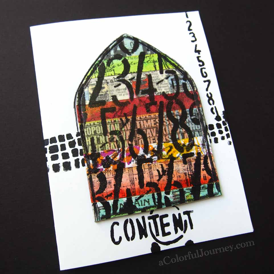 Video showing how I made this card using StencilGirl Products stencil by Seth Apter and tape from Transform Your Tape workshop with Carolyn Dube