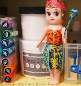 Video tutorial on how to dress a doll in washi tape with Artysville's tape by Carolyn Dube