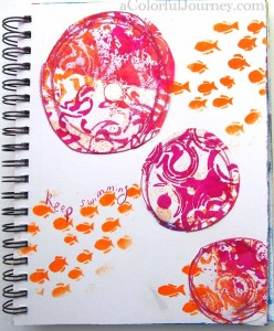 Carolyn Dube art journal page using Dylusions spray inks and a stencil