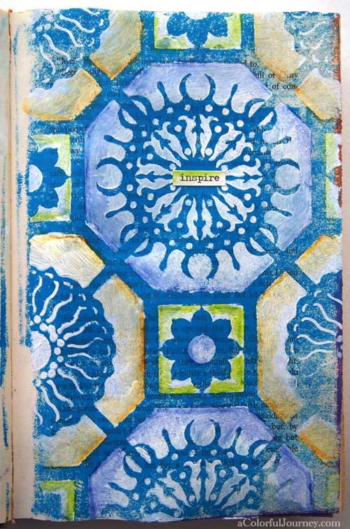 Video tutorial using Inktense pencils and a stencil designed by Mary Beth Shaw for StencilGirl